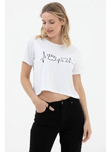 Sementa Oversize Basic Baskılı Kısa Tshirt - Beyaz Beyaz
